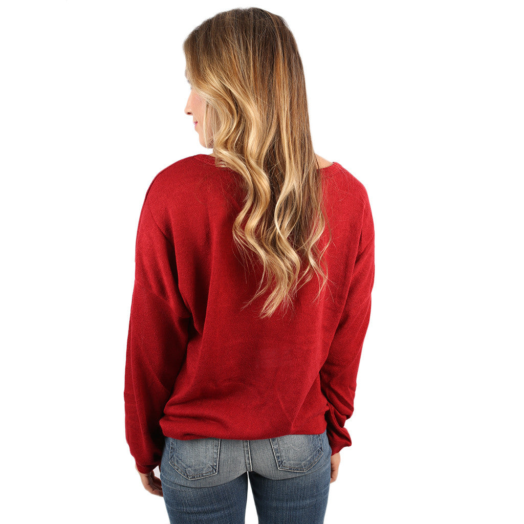 PIKO Dolman Thin Sweater in American Red