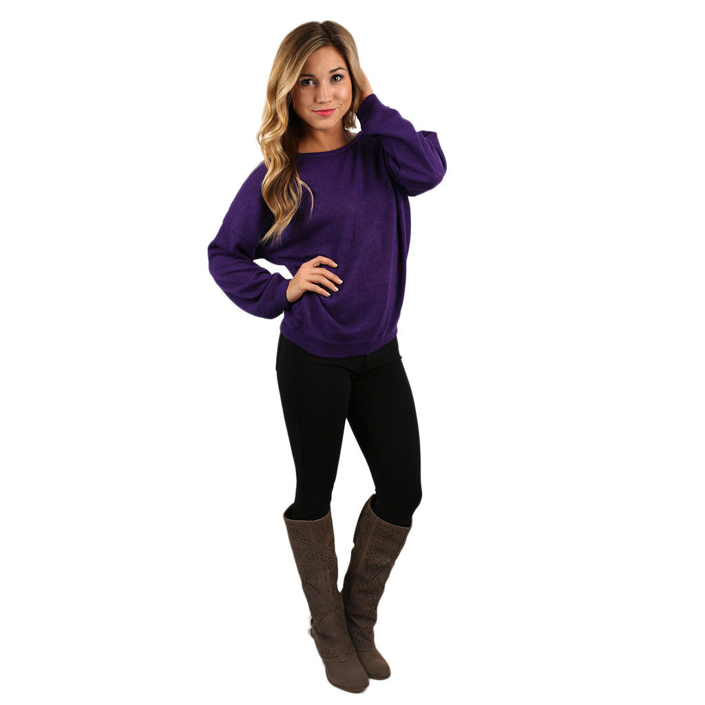 PIKO Dolman Thin Sweater in Purple