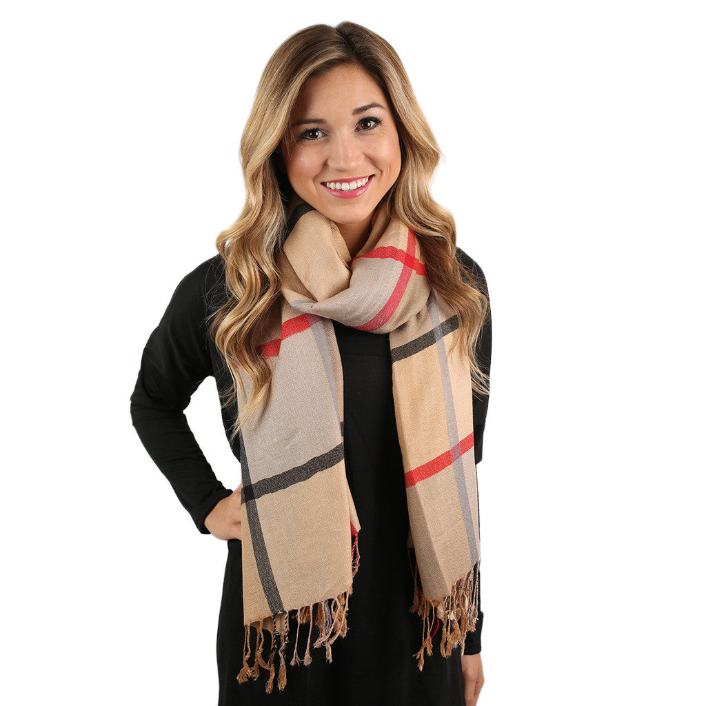 Plaid Wishes Scarf Beige
