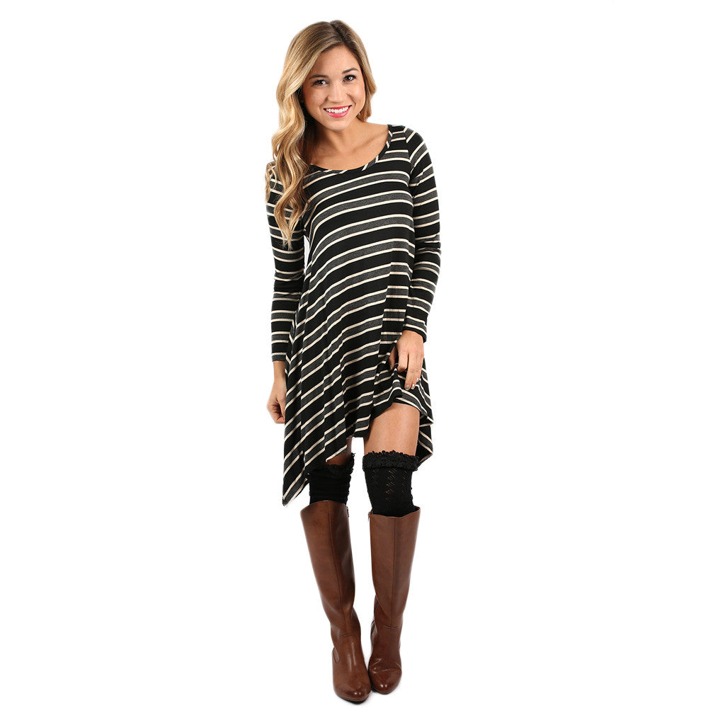Striped Success Tunic Grey