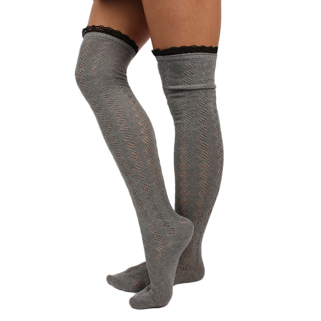 Bonfire Tall Lace Trim Socks Grey