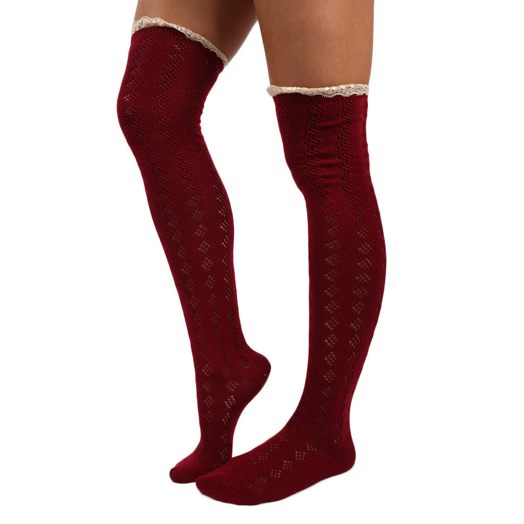 Bonfire Tall Lace Trim Socks Burgundy