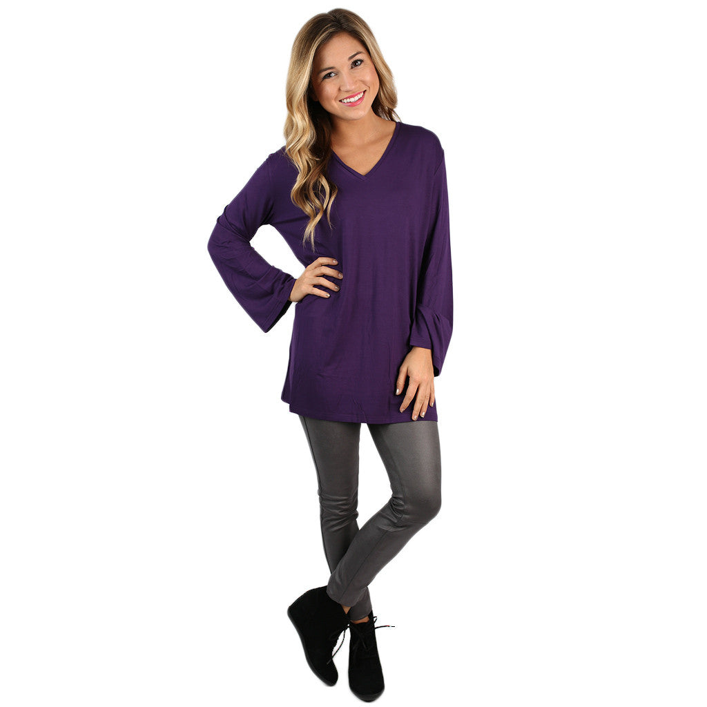 PIKO V-Neck Swing Tee in Dark Purple
