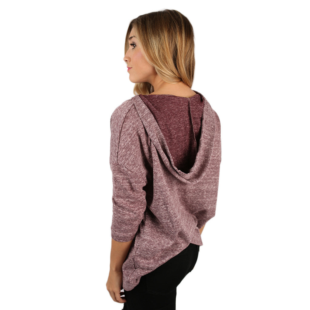 PIKO Terry Knit Hoodie in Heather Burgundy
