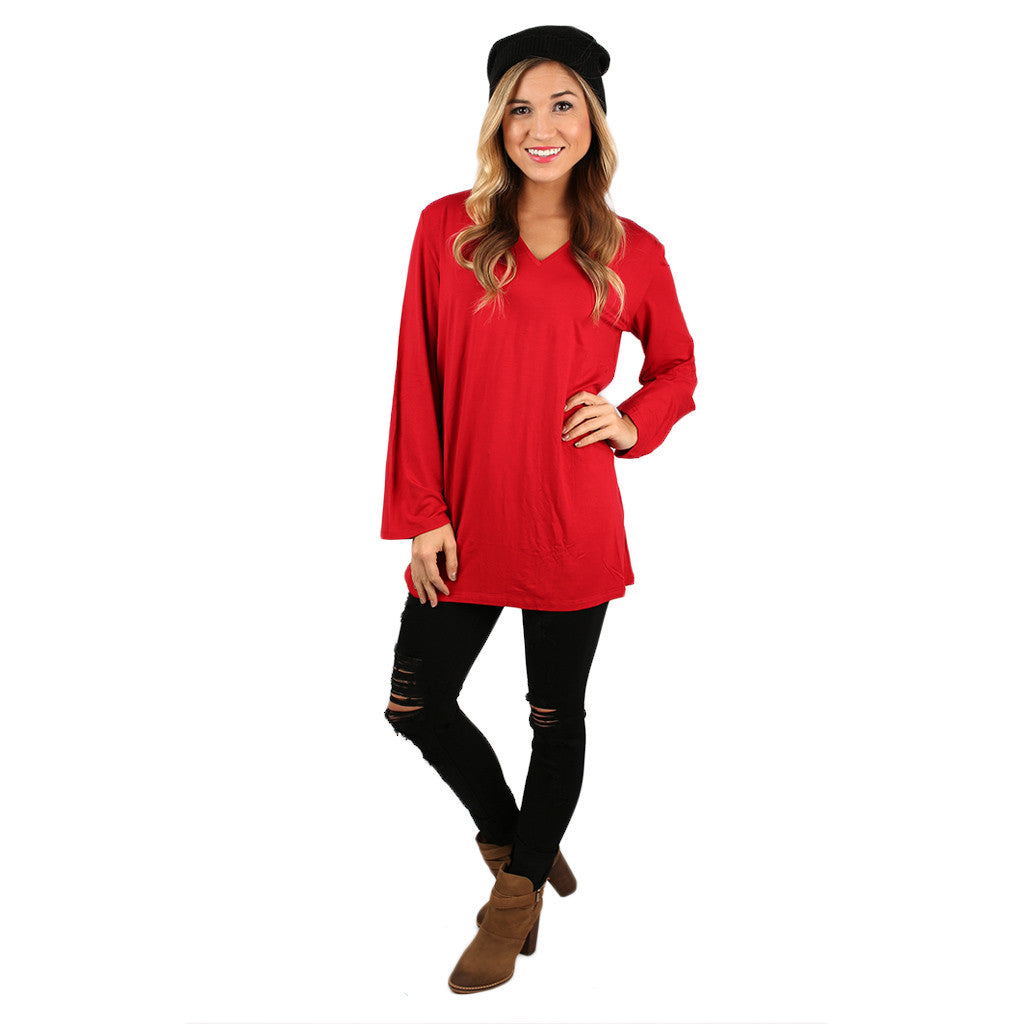 PIKO V-Neck Swing Tee in American Red