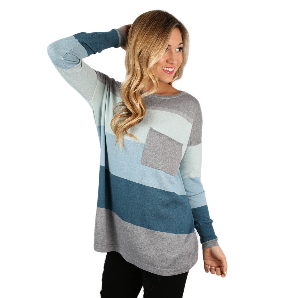 Cozy Luxury Thin Sweater Mint/Baby Blue