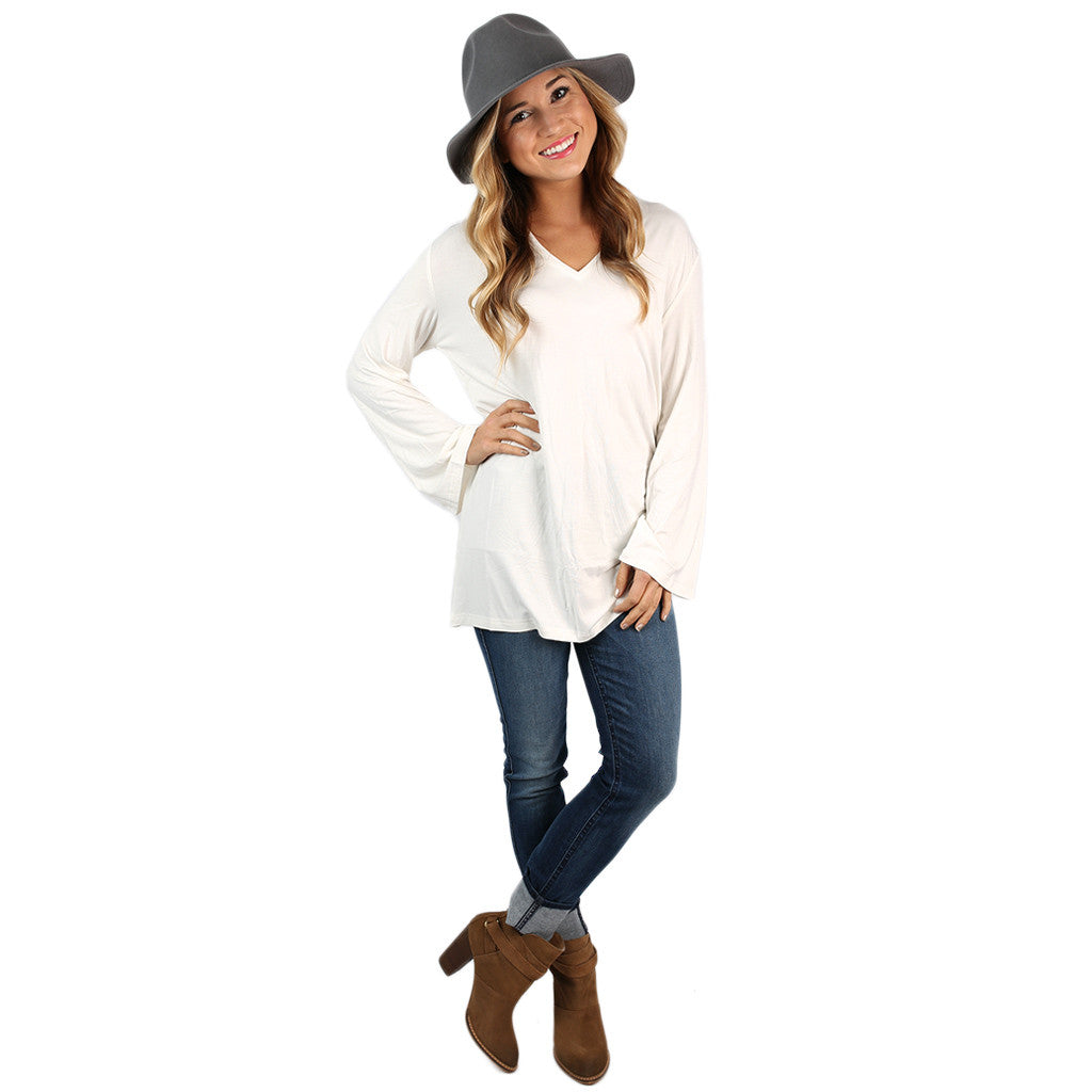 PIKO V-Neck Swing Tee in Off White