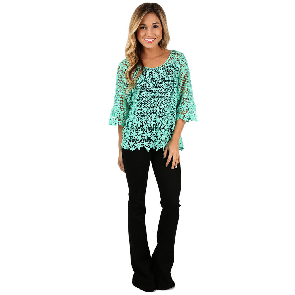 True Love Crochet Top in Mint