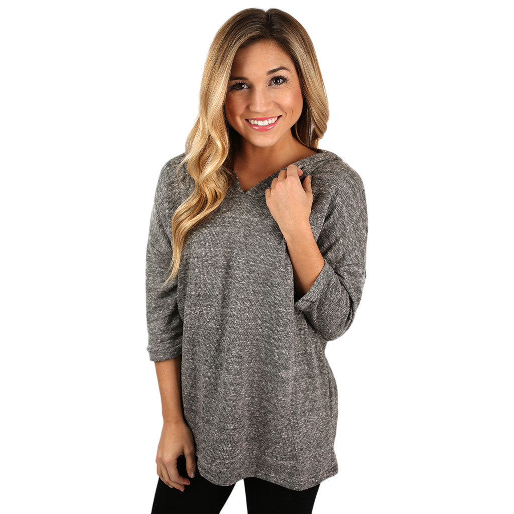 PIKO Terry Knit Hoodie in Heather Grey