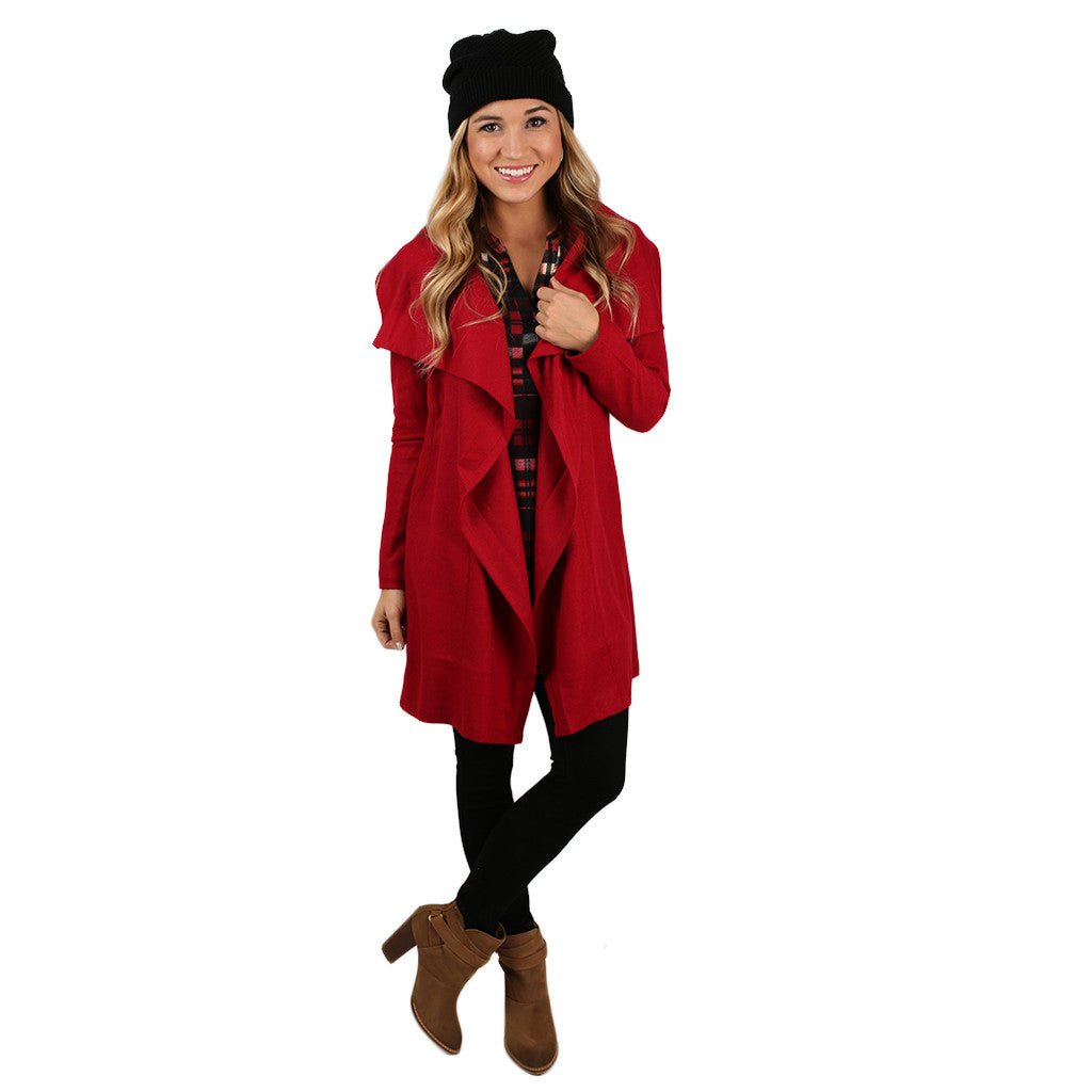 PIKO Drape Jacket in Garnet