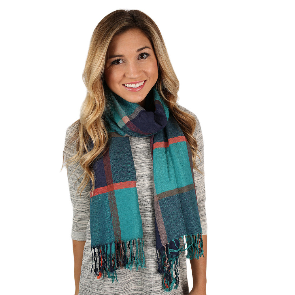 Plaid Wishes Scarf Teal