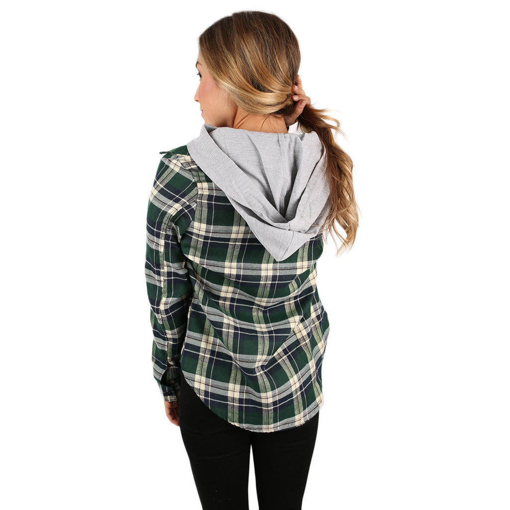 Cozy Days Flannel Hoodie in Green
