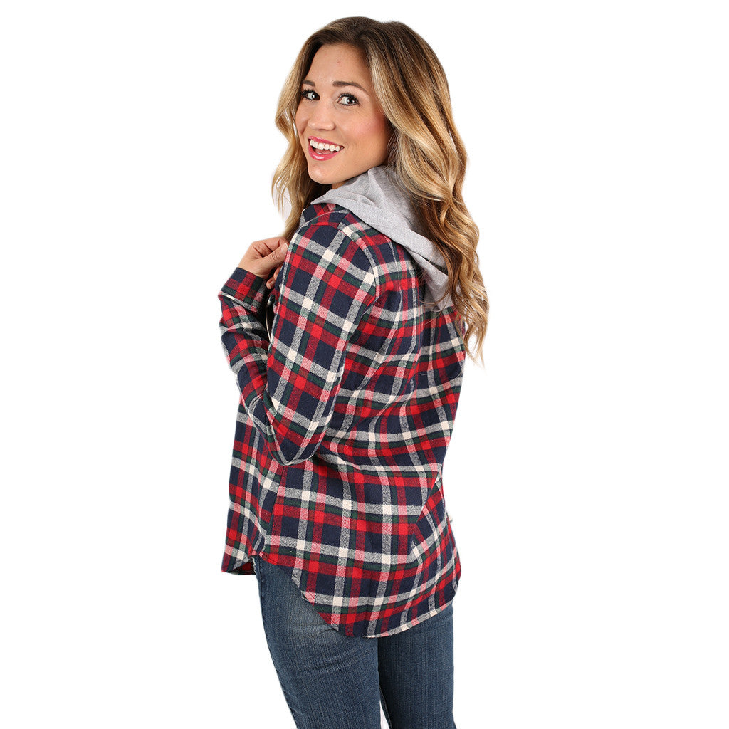 Cozy Days Flannel Hoodie in Red