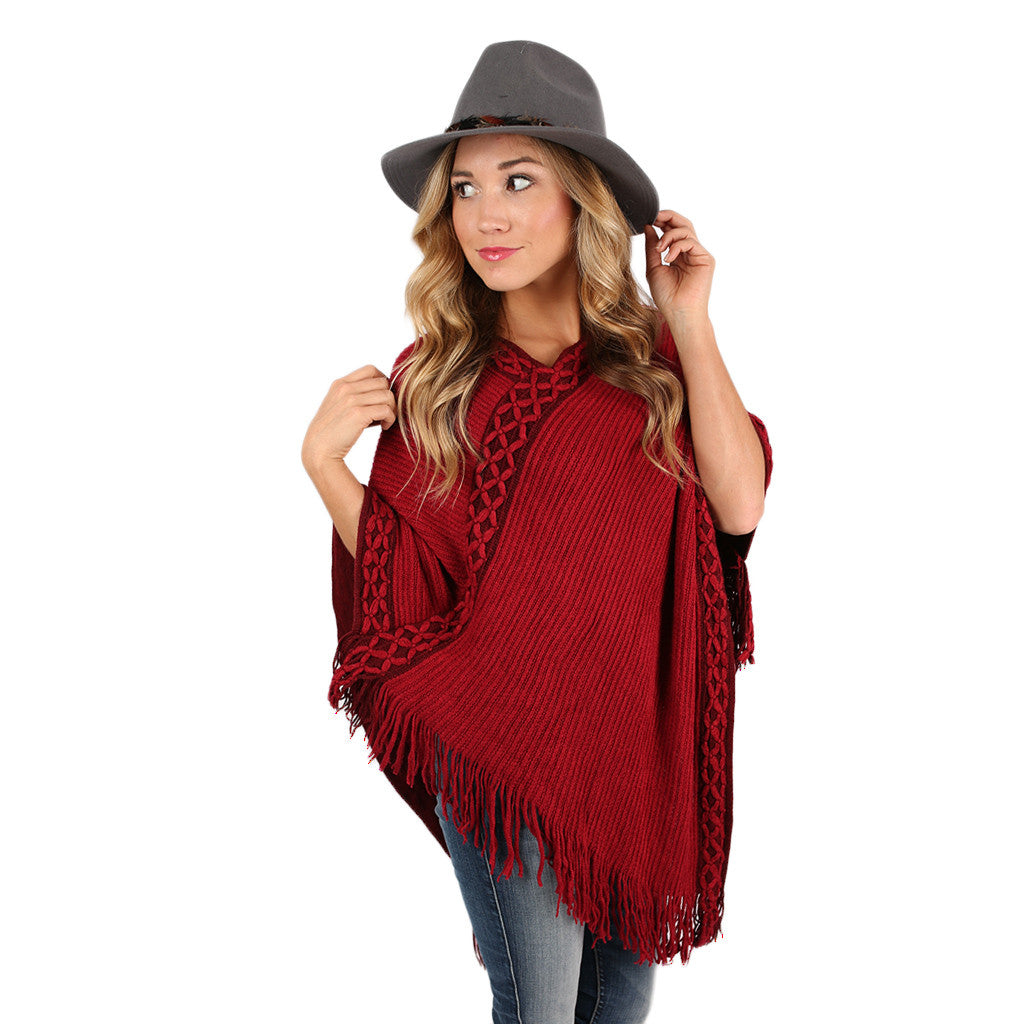 Radiating Style Poncho Burgundy