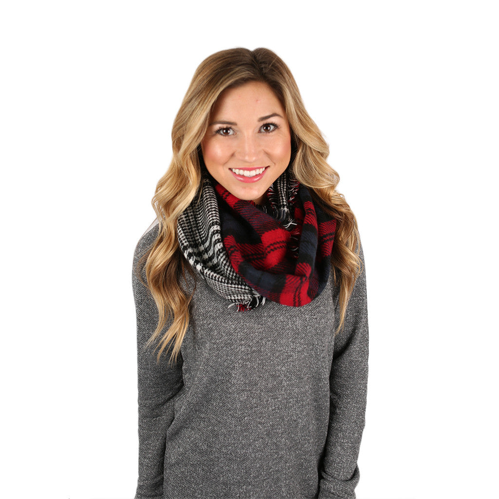 Lovely in London Infinity Scarf Red