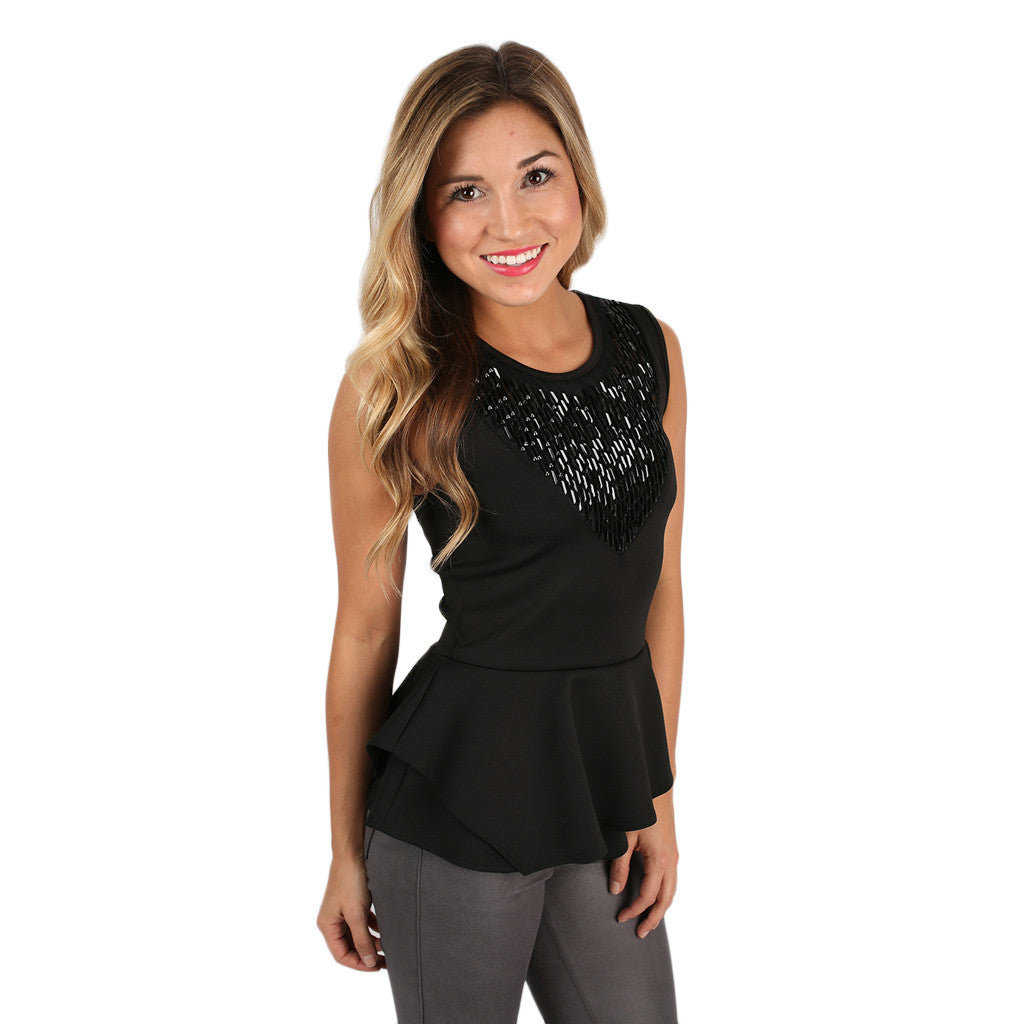 Life of The Party Peplum Top in Black