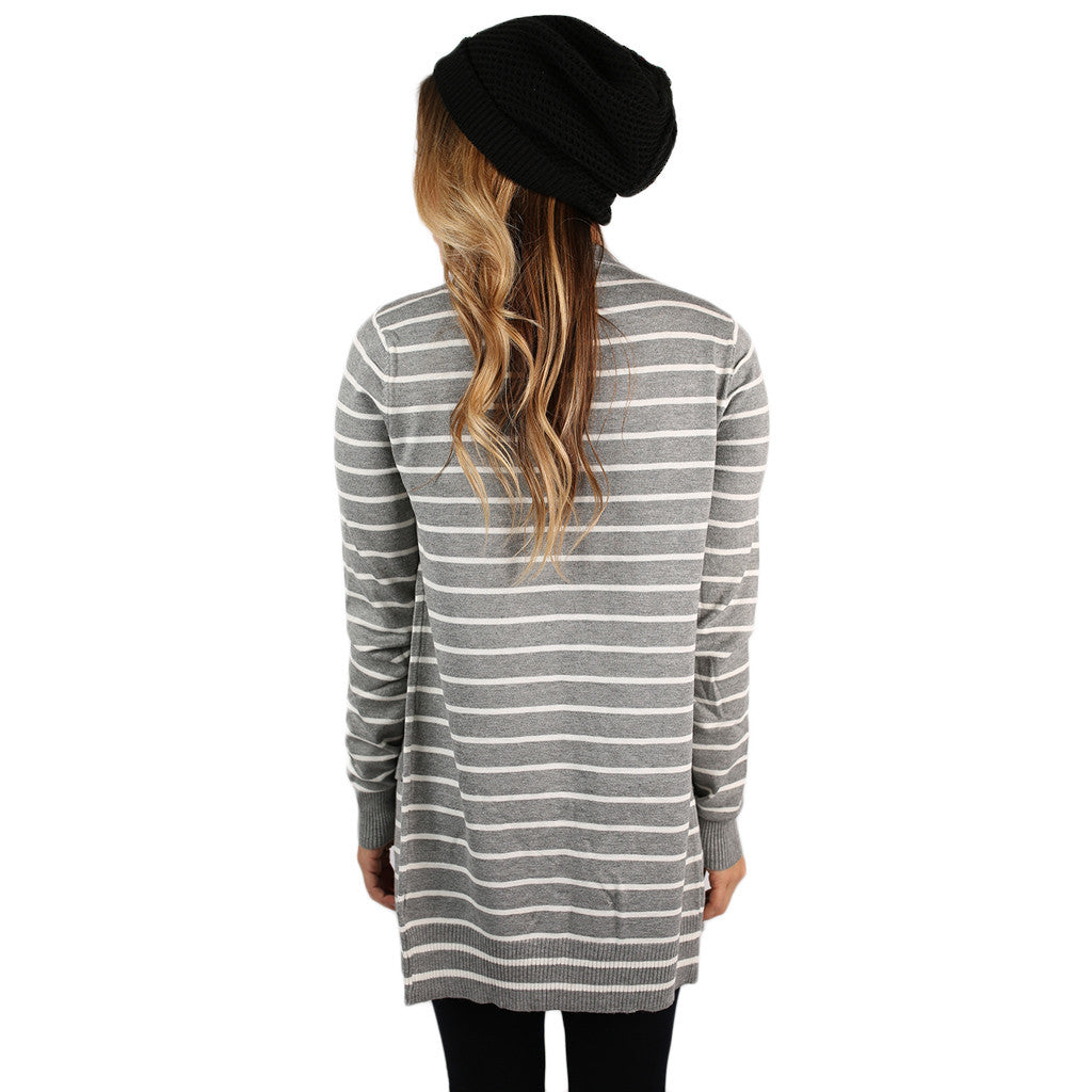 Happy Stripes Cardi Grey