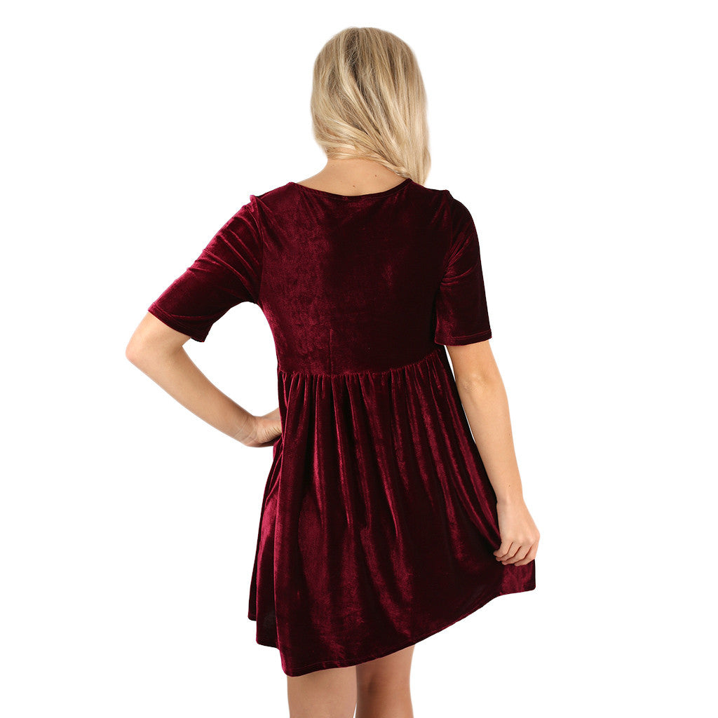 Crushing on you Babydoll Dress Wine