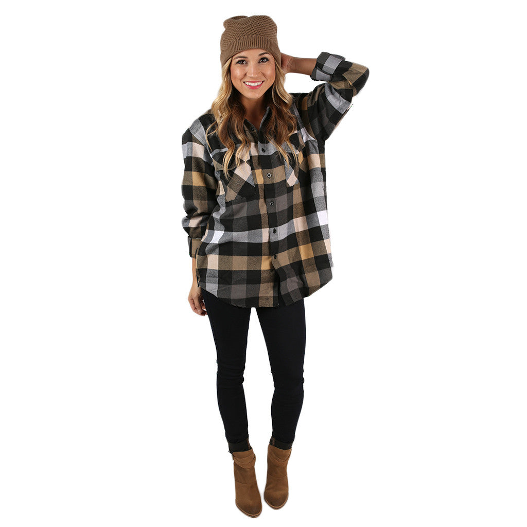 You Always Keep Me Cozy Unisex Flannel in Honey