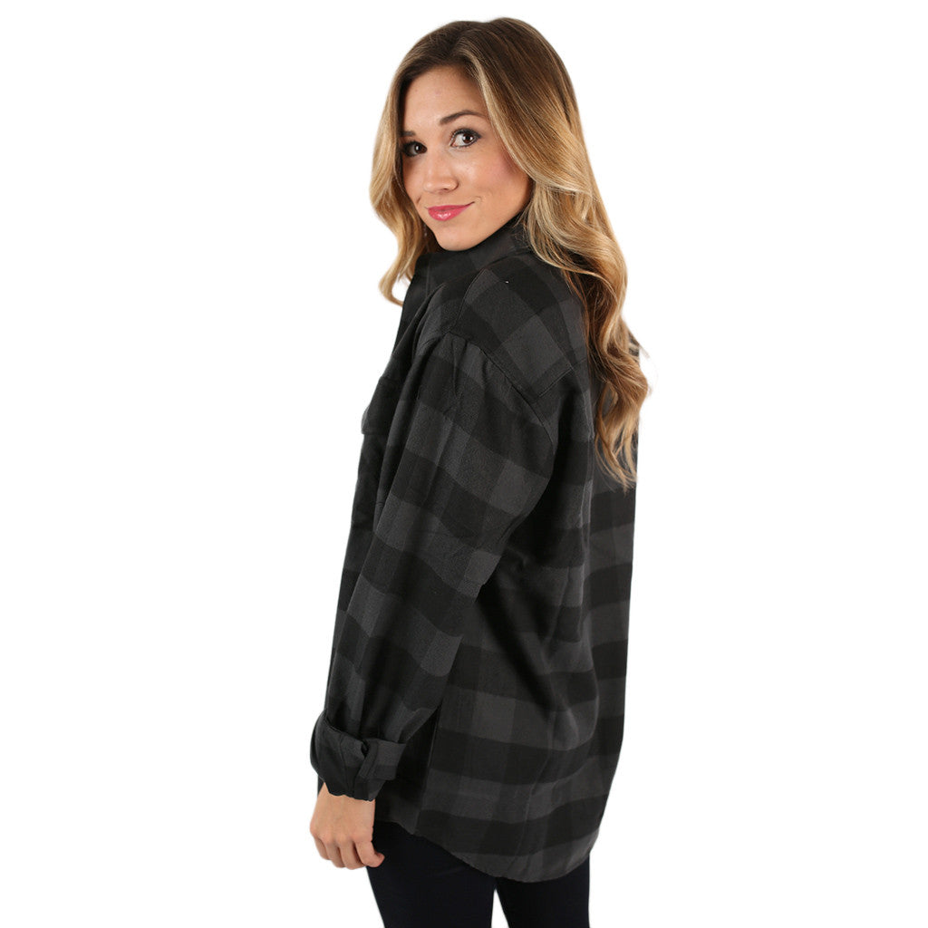 You Always Keep Me Cozy Unisex Flannel in Charcoal