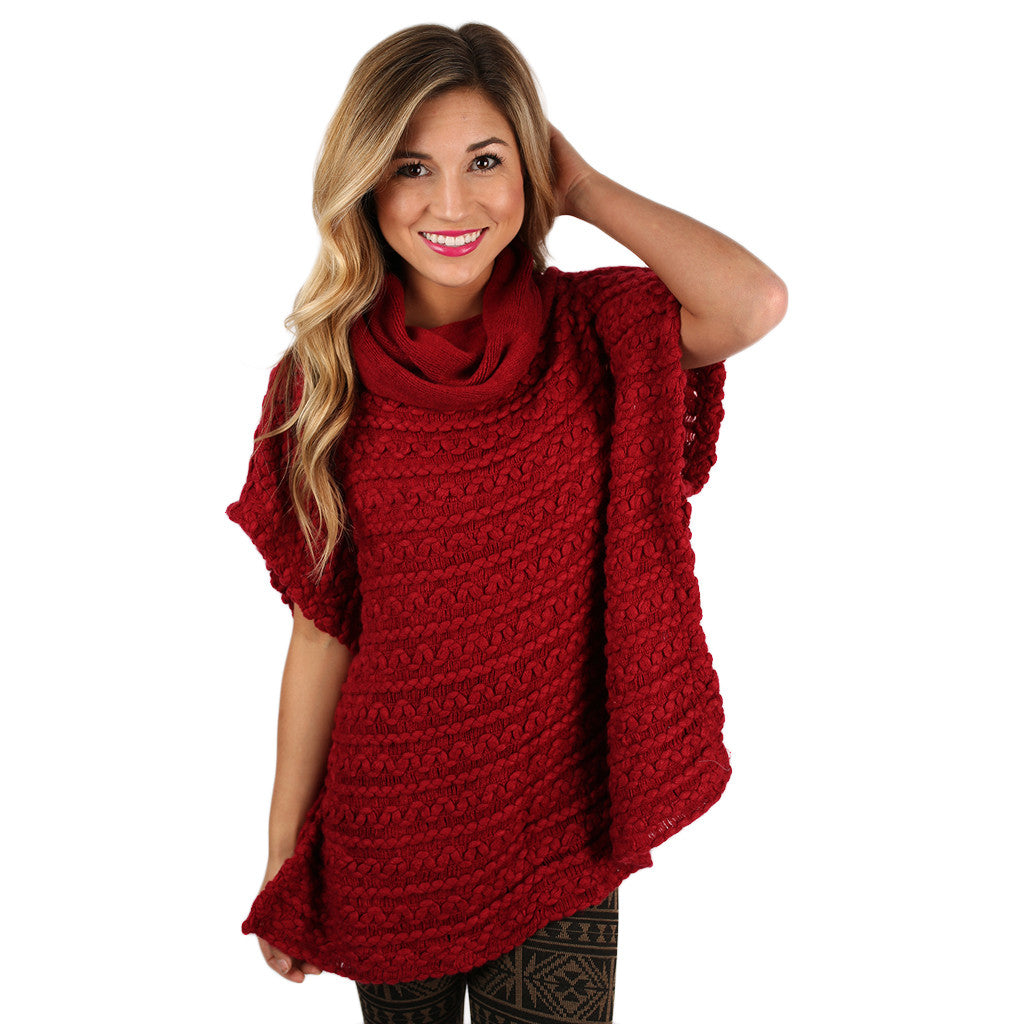 Cozy Buttons Poncho Burgundy