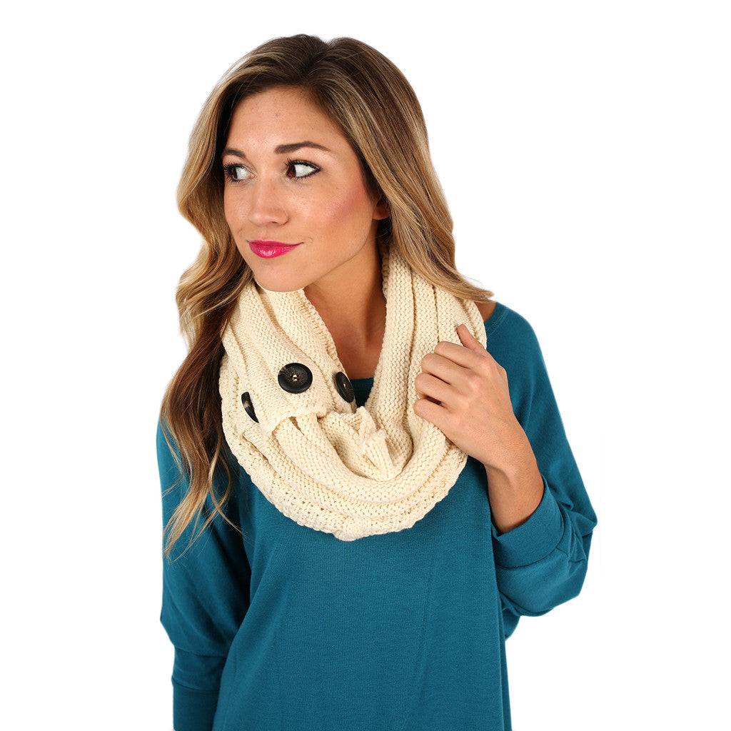Cozy Buttons Infinity Scarf Ivory