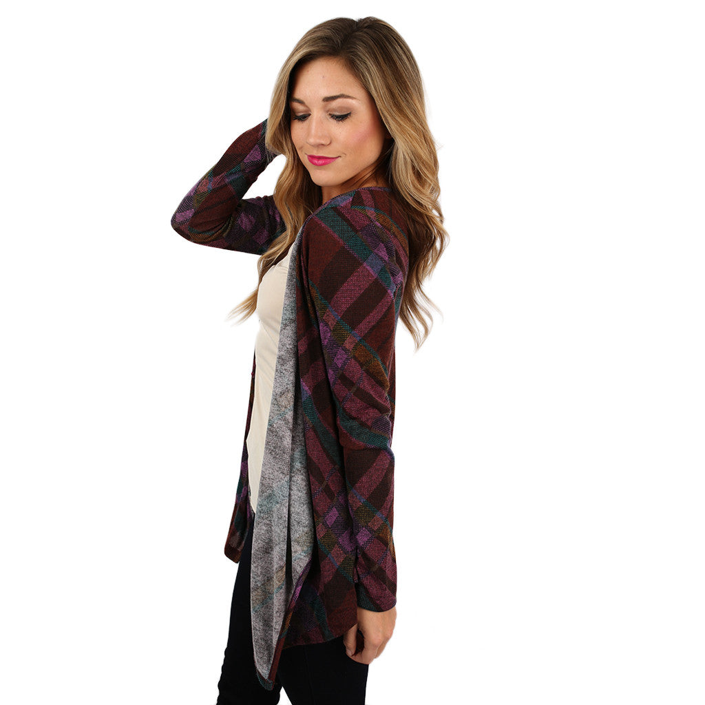 Pretty In Plaid Cardigan in Purple