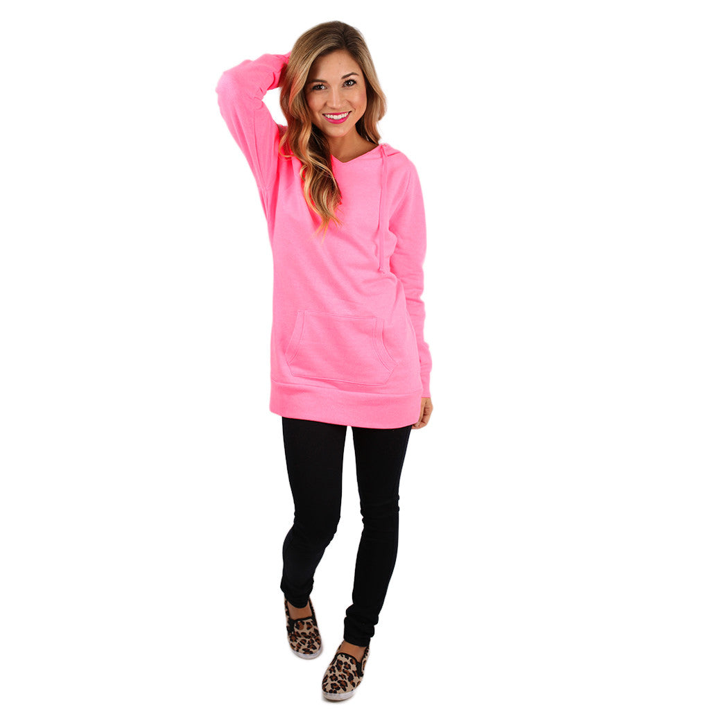 Simply The Comfiest Fleece Lined Hoodie in Neon Pink