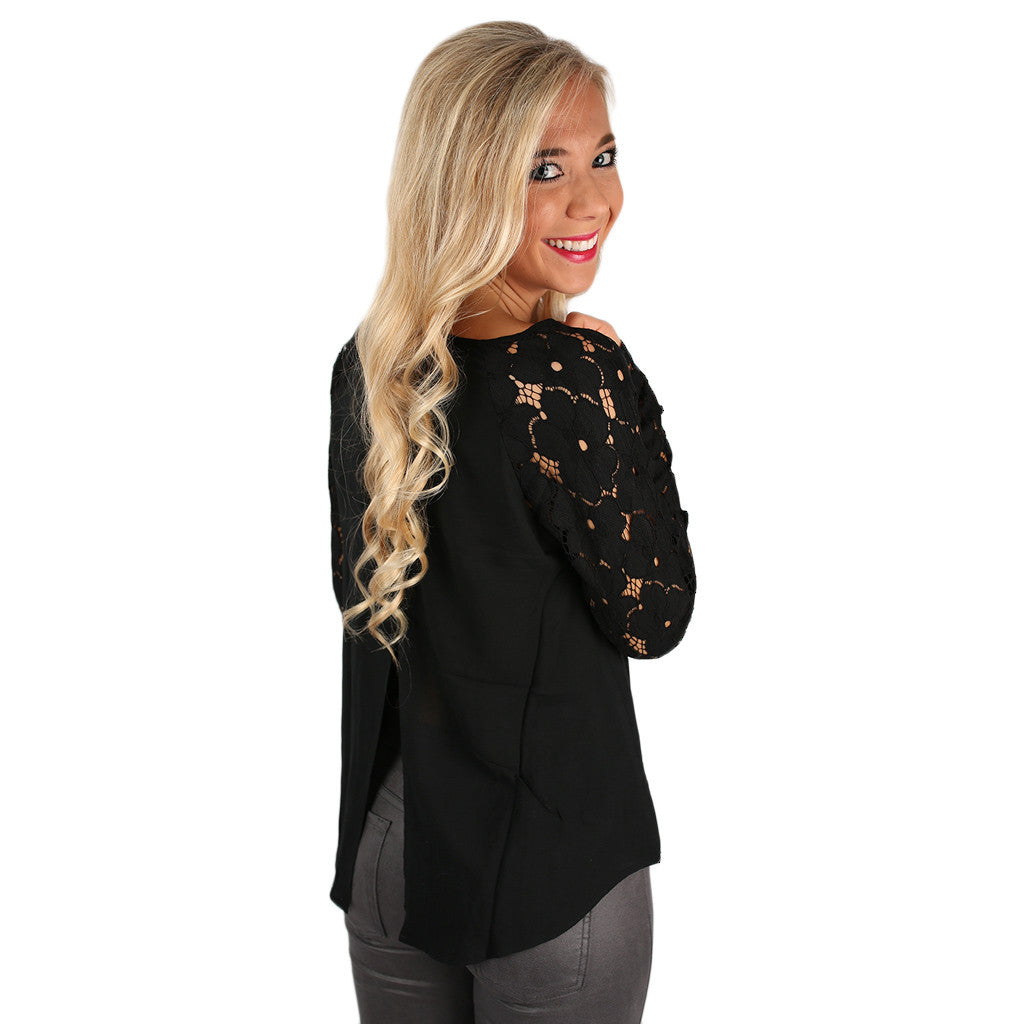 Raindrops on Roses Top Black