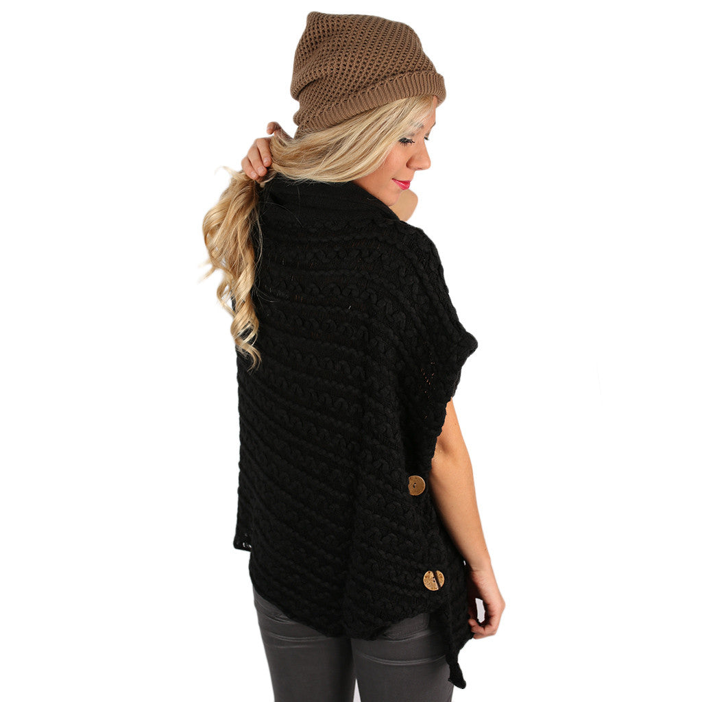 Cozy Buttons Poncho Black
