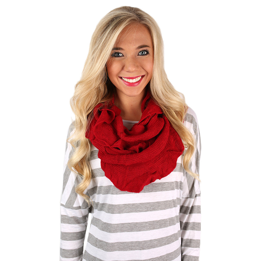 Rise & Ruffle Infinity Scarf Red