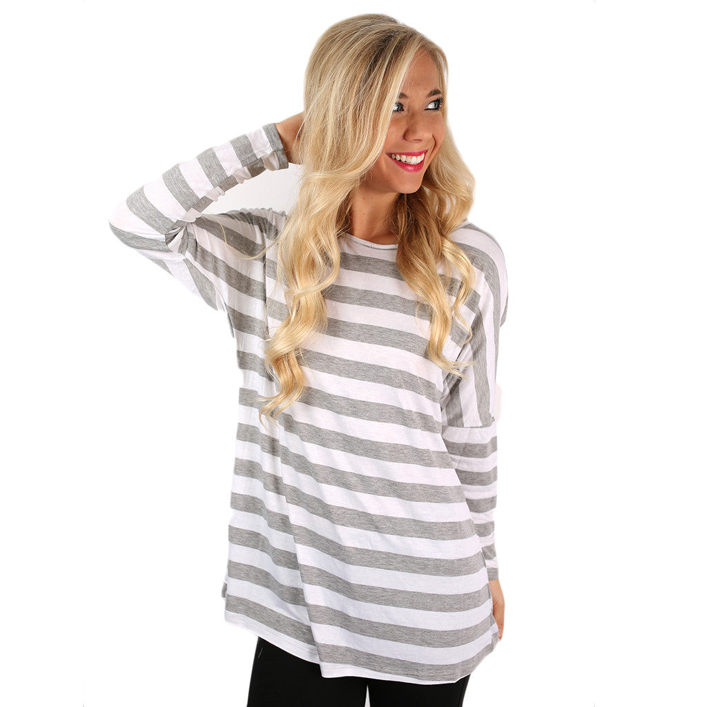 Chic Stripes Tee In Grey