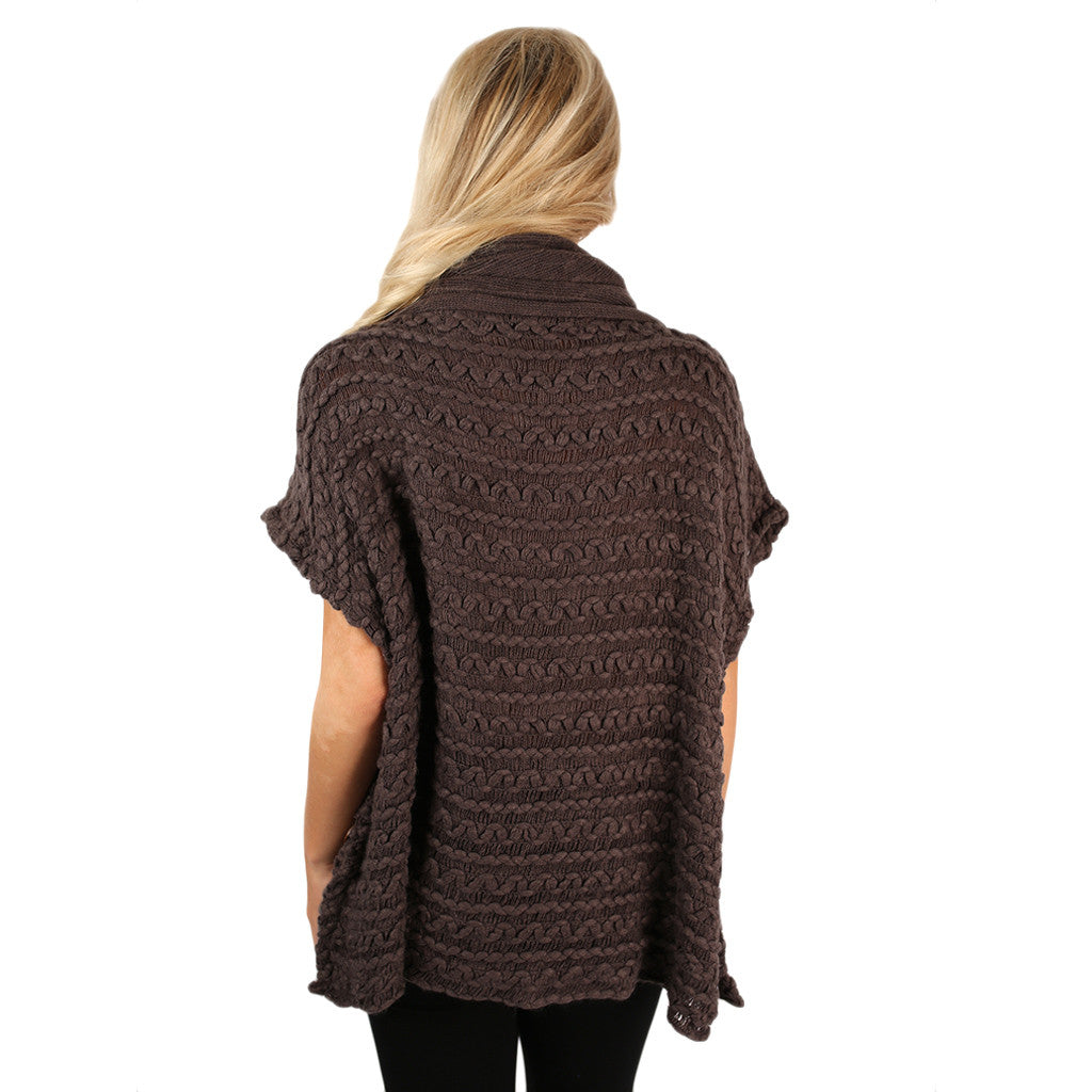 Cozy Buttons Poncho Grey