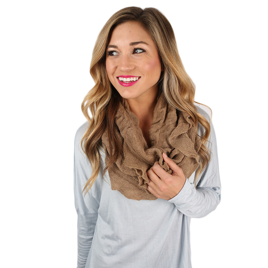 Rise & Ruffle Infinity Scarf Taupe