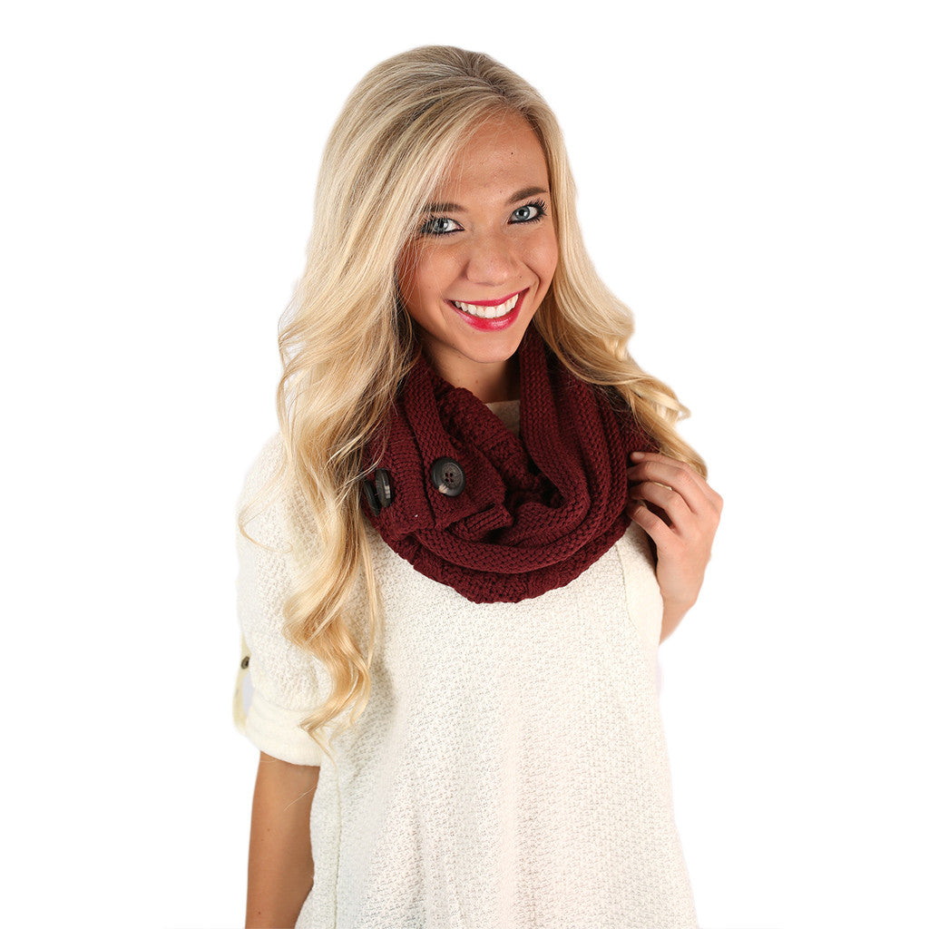 Cozy Buttons Infinity Scarf Burgundy