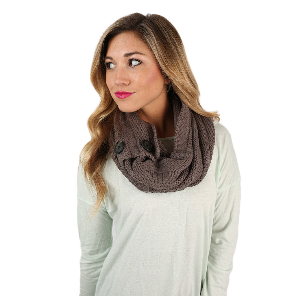 Cozy Buttons Infinity Scarf Dark Army