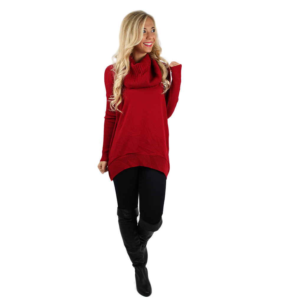 Home is Where I'm with You Tunic Sweater in Red