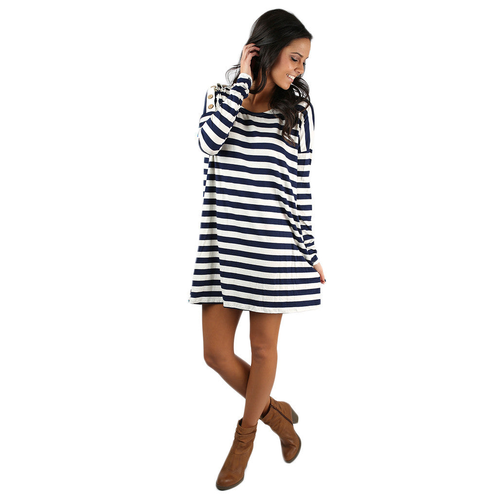 Simply Striped Tunic in Navy