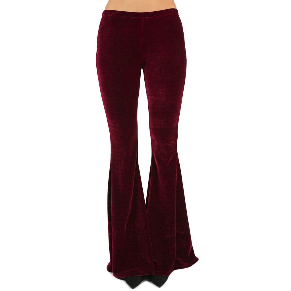 Four Seasons Velvet Flare Pants Wine
