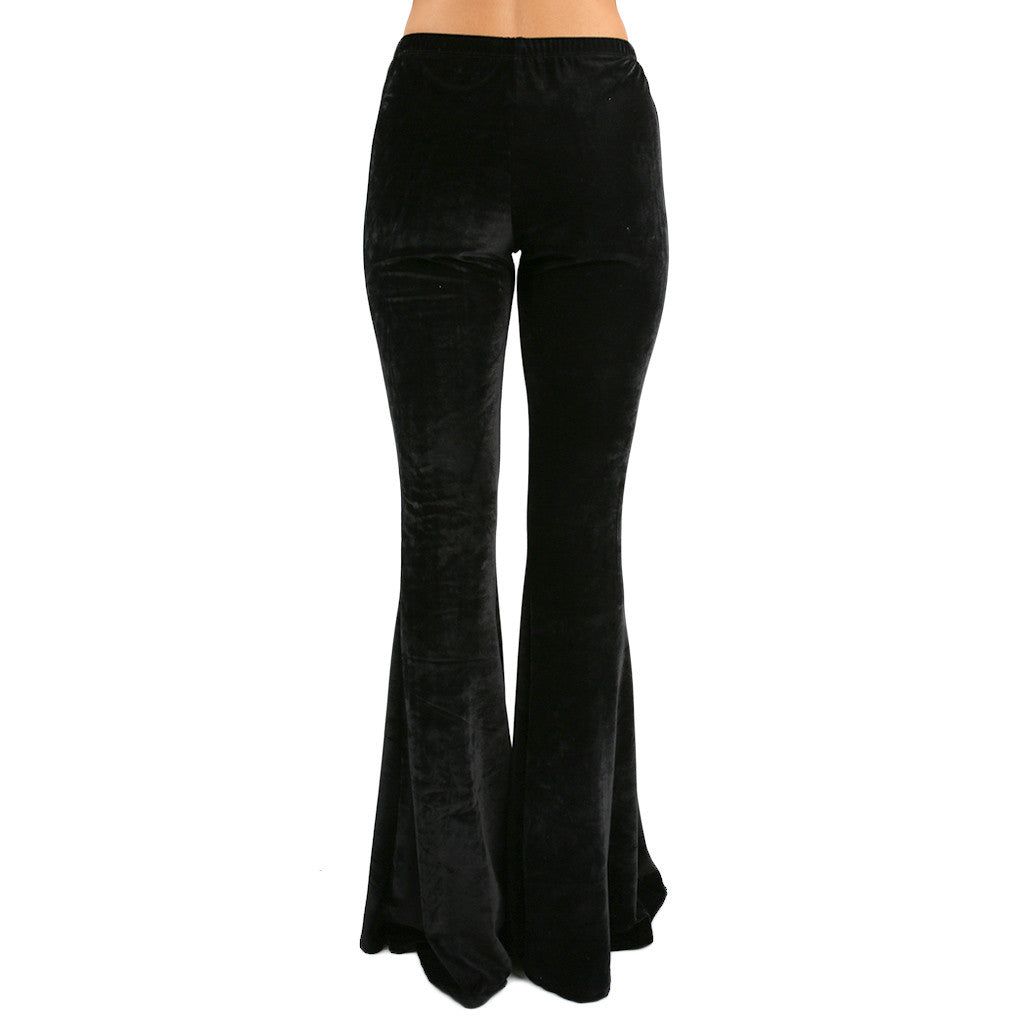 Four Seasons Velvet Flare Pants Black