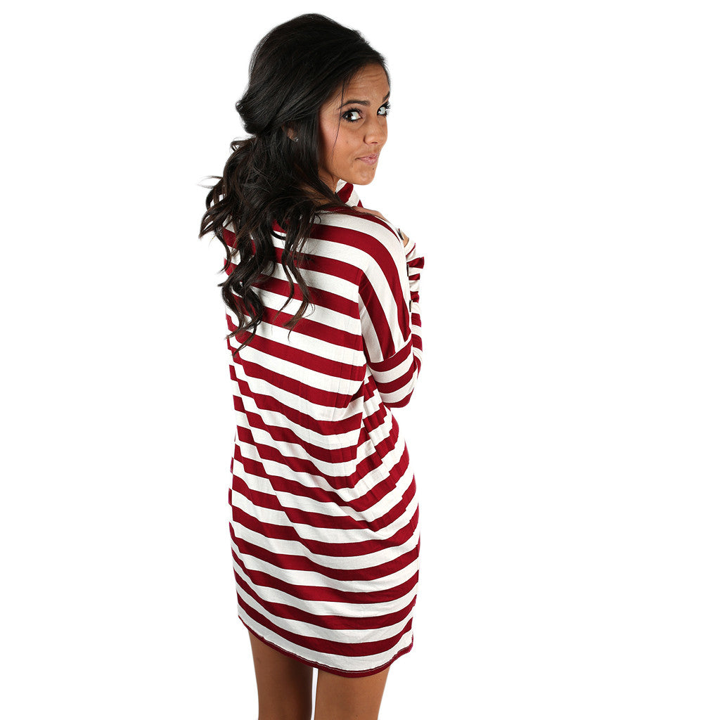 Simply Striped Tunic in Wine