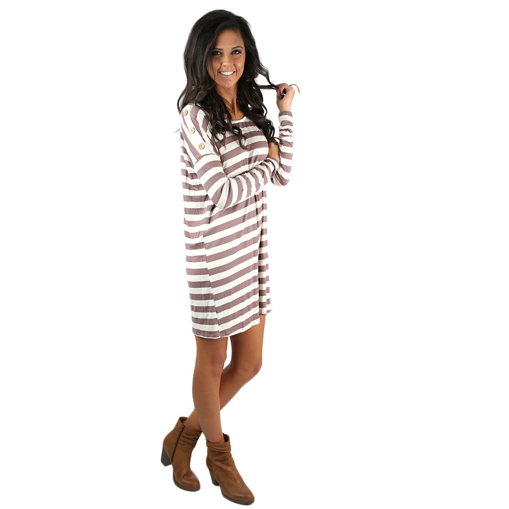 Simply Striped Tunic in Mocha
