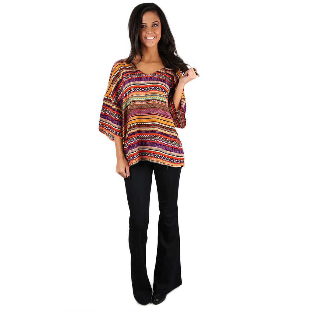 PIKO V-Neck Pattern Top