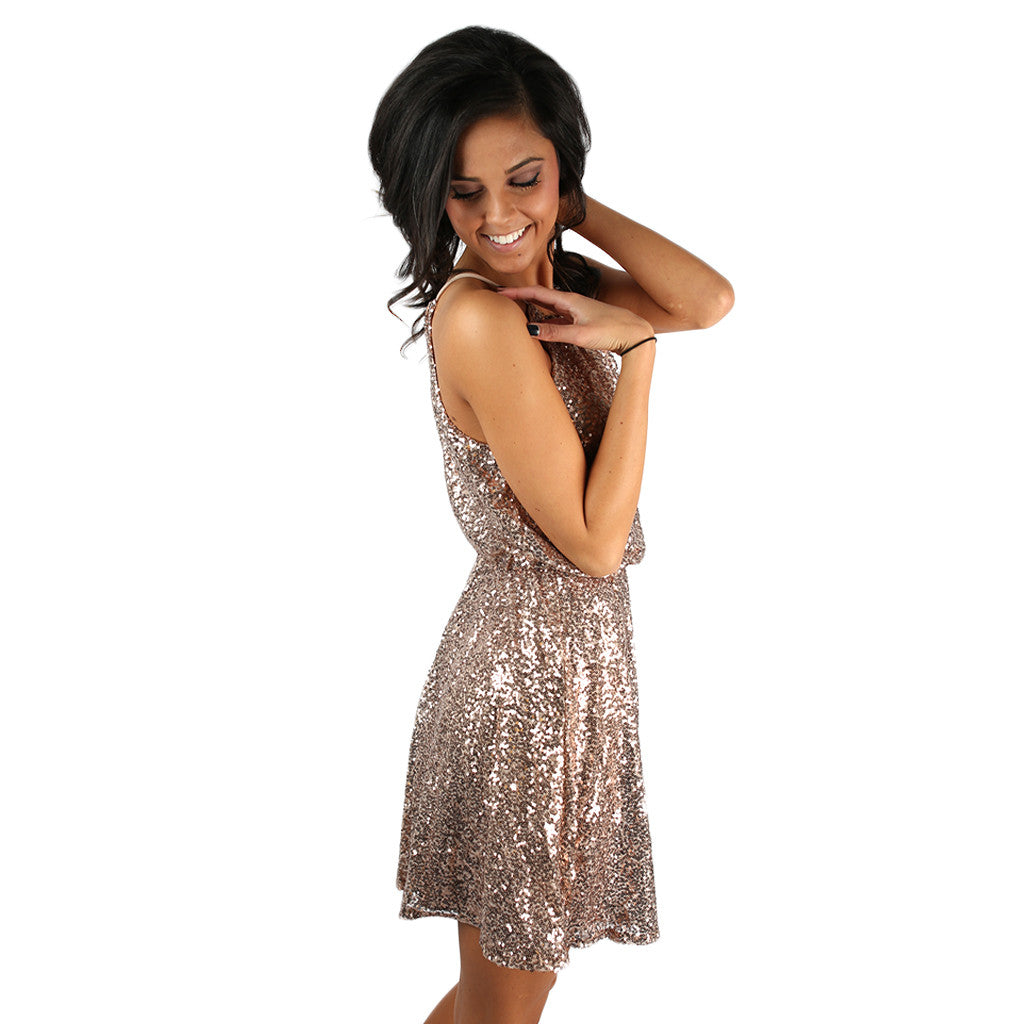 Sparkle & Shine Dress Gold • Impressions Online Boutique