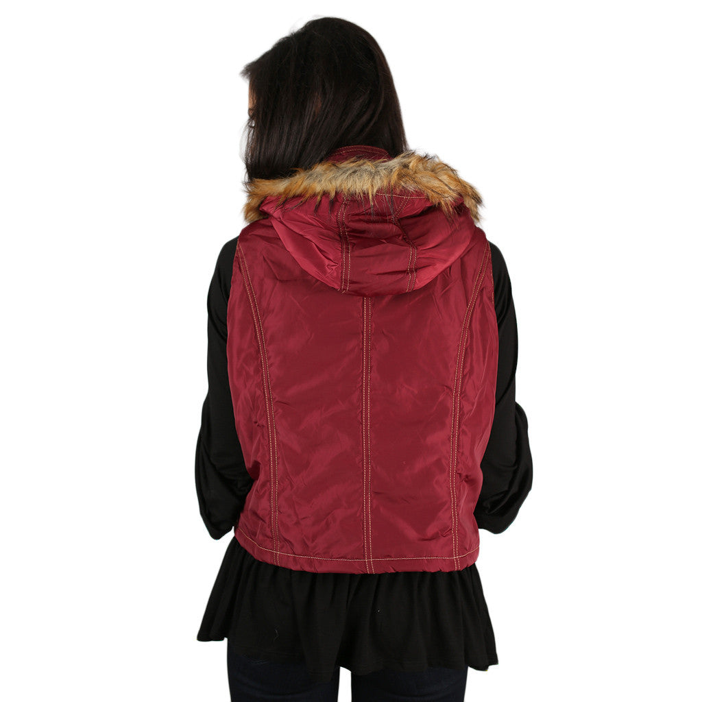 Ski Bound Beauty Vest in Burgundy