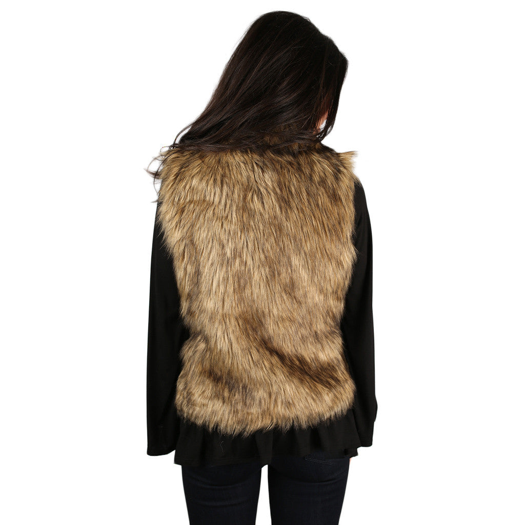 London Bound Faux Fur Vest Hazel