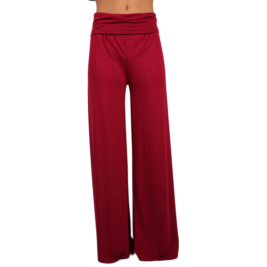 High Waist Flare Pants in Wine
