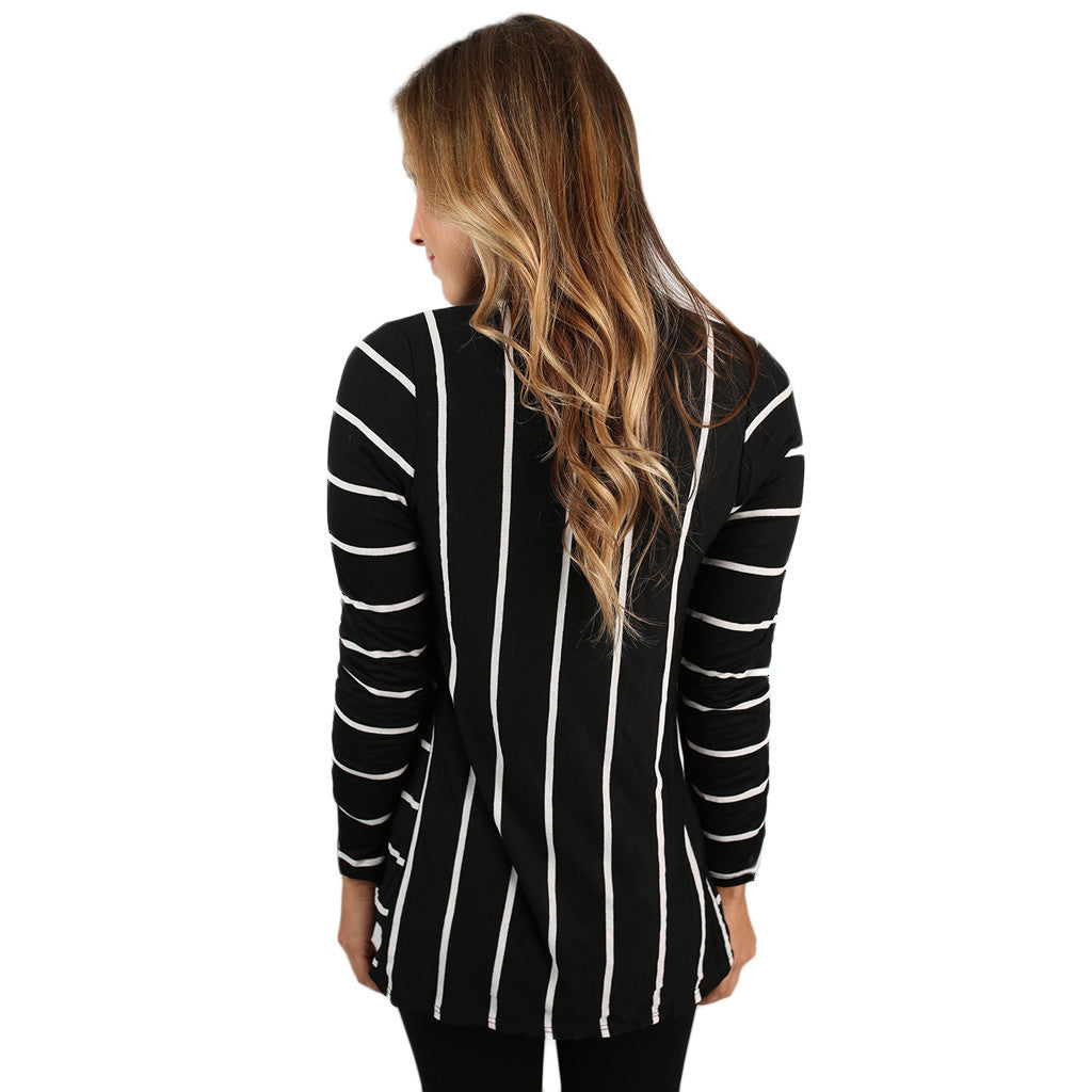 Lovely Stripe Cardi Black