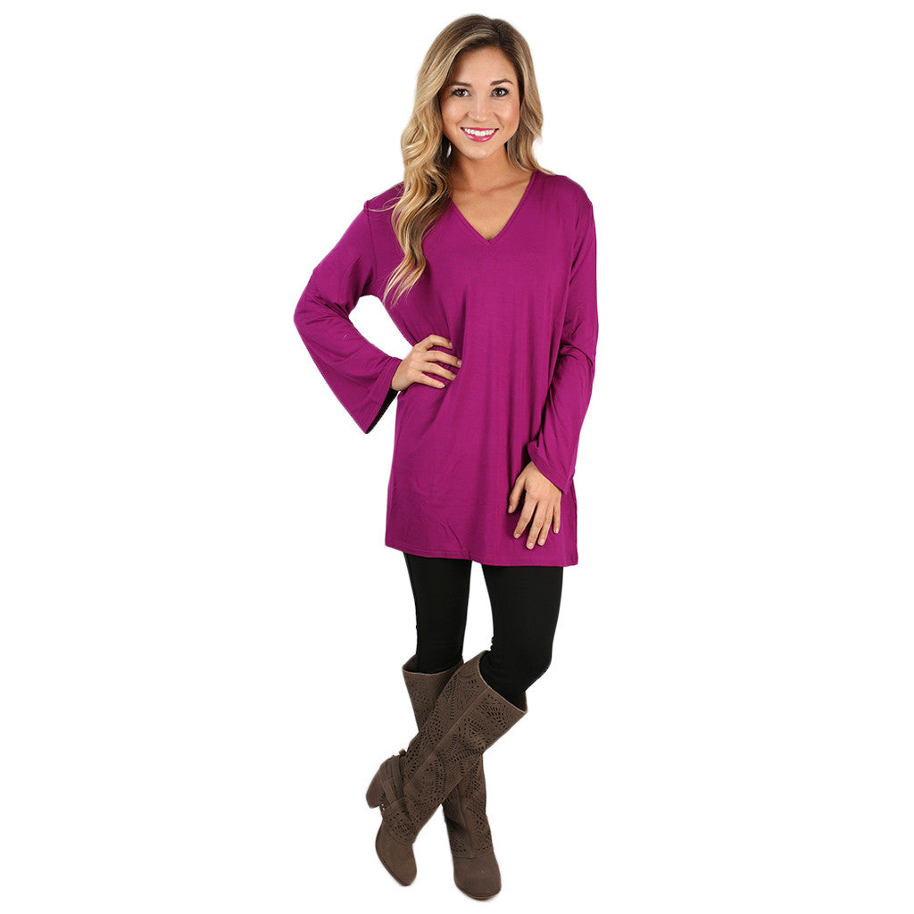 PIKO V-Neck Swing Tee in Bright Fuchsia