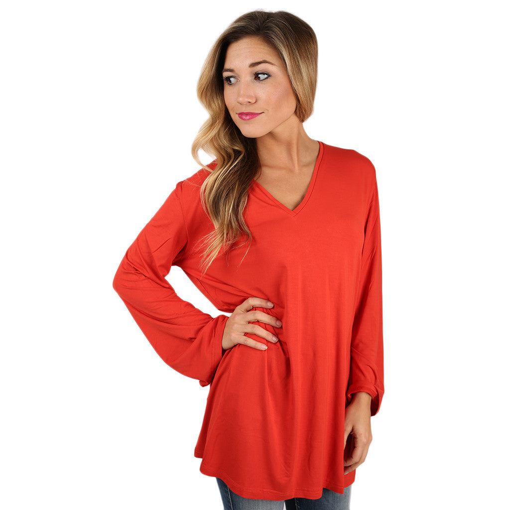 PIKO V-Neck Swing Tee in Dark Orange